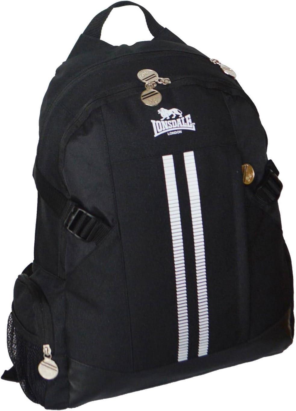 Lonsdale 2/Stripe Sport Rucksack schwarz//wei/ß Rucksack Sporttasche Gymbag Kitbag
