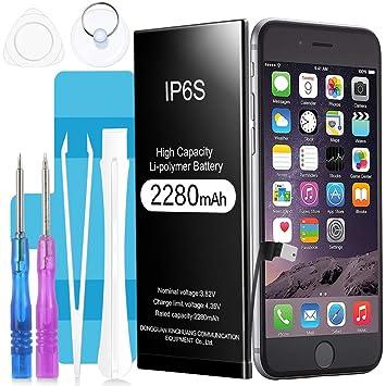 Batería para iPhone 6S, Suzi 2280 mAh Batería Recargable de Polímero de Litio de Alta Capacidad con El Kit Completo de Herramientas para La Reparación ...