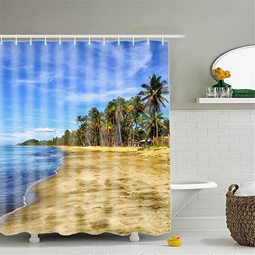 SASA,3D Cortina de Ducha Digital Playa Personalidad Creativa ...