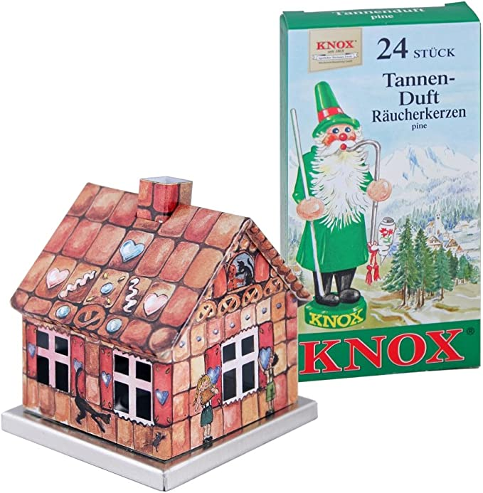 Knox Räucherhaus Aus Metall Lebkuchenhaus Räucherkerzen Tannenduft 24 Räucherkerzen Der Größe M Küche Haushalt