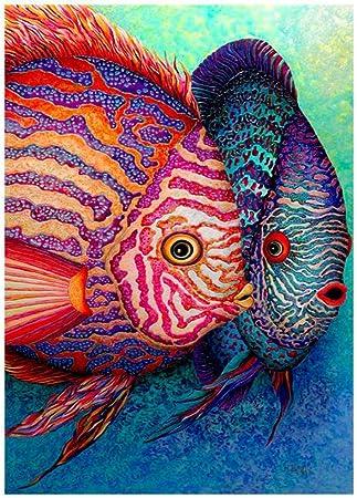 Fish 5D DIY Round Full Drill Diamond Painting Embroidery Cross Stitch Kits