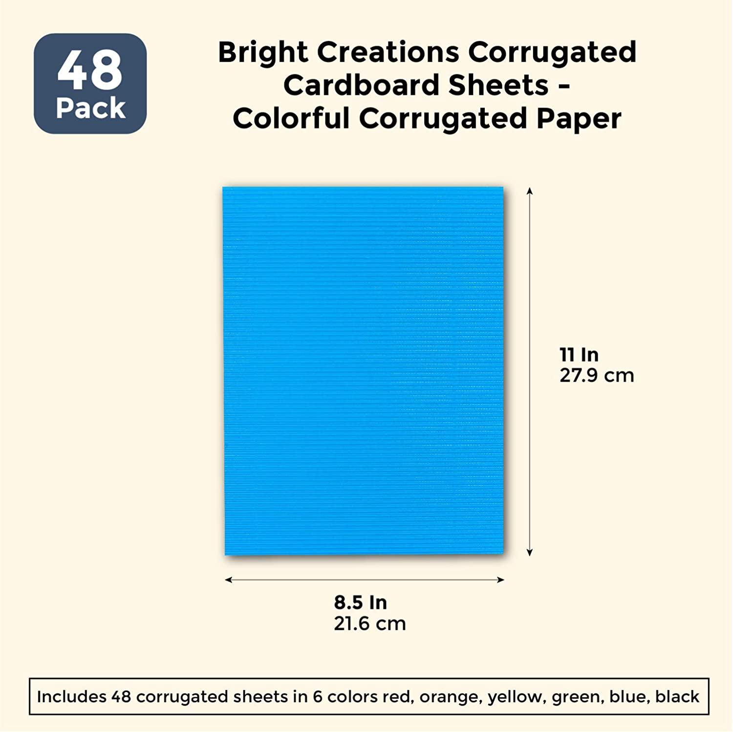 Bright Creations 48 Pack Corrugated Cardboard Sheets Colorful Corrugated Paper 8.5 x 11 inches