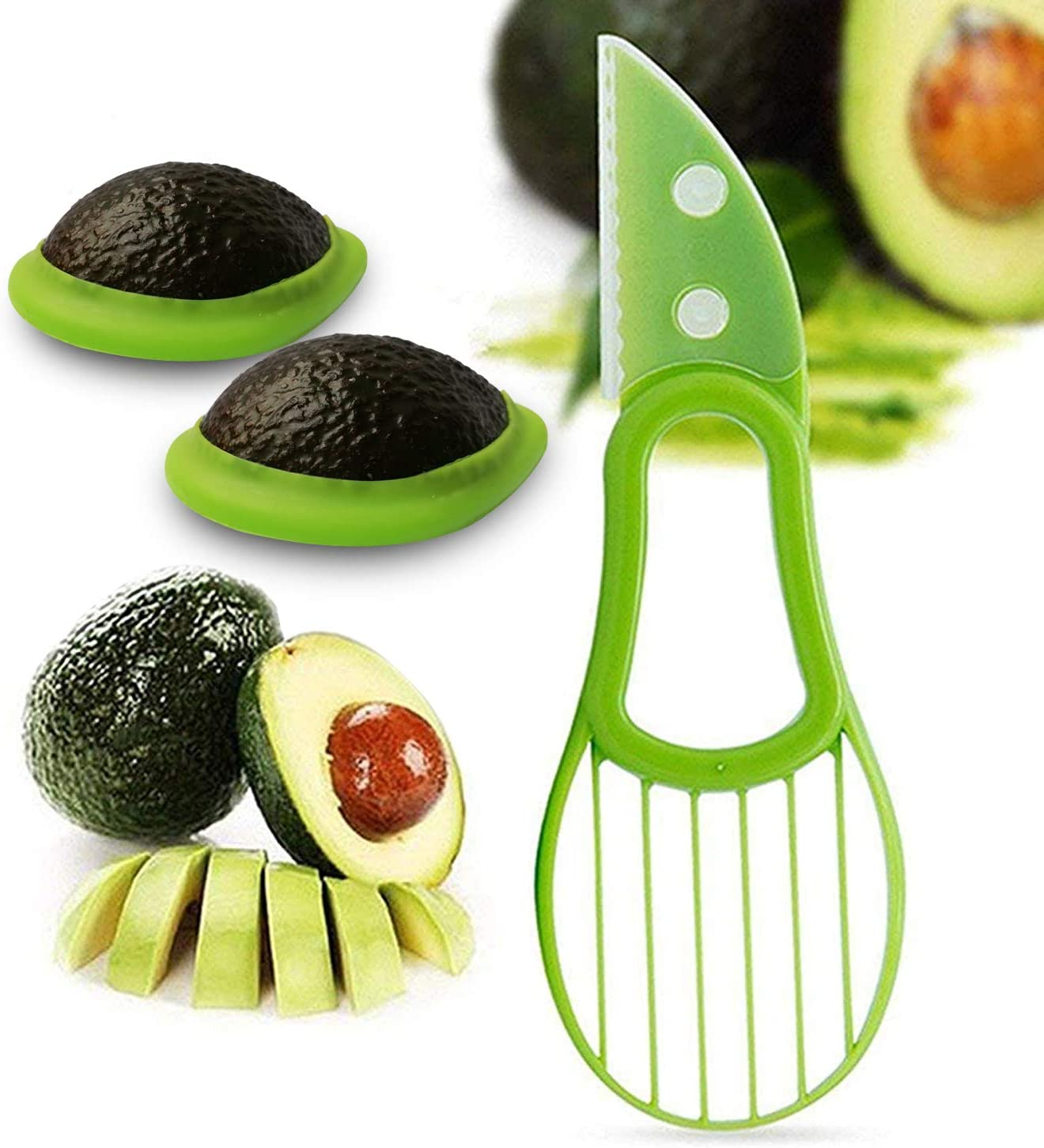 Avocado Saver and Slicer 3 in 1 / Avocado Holder/Keeper Storage Cover Silicone Food Savers/Avocado Slicer/Pitter/Peeler/Cutter/Skinner and Corer Tools