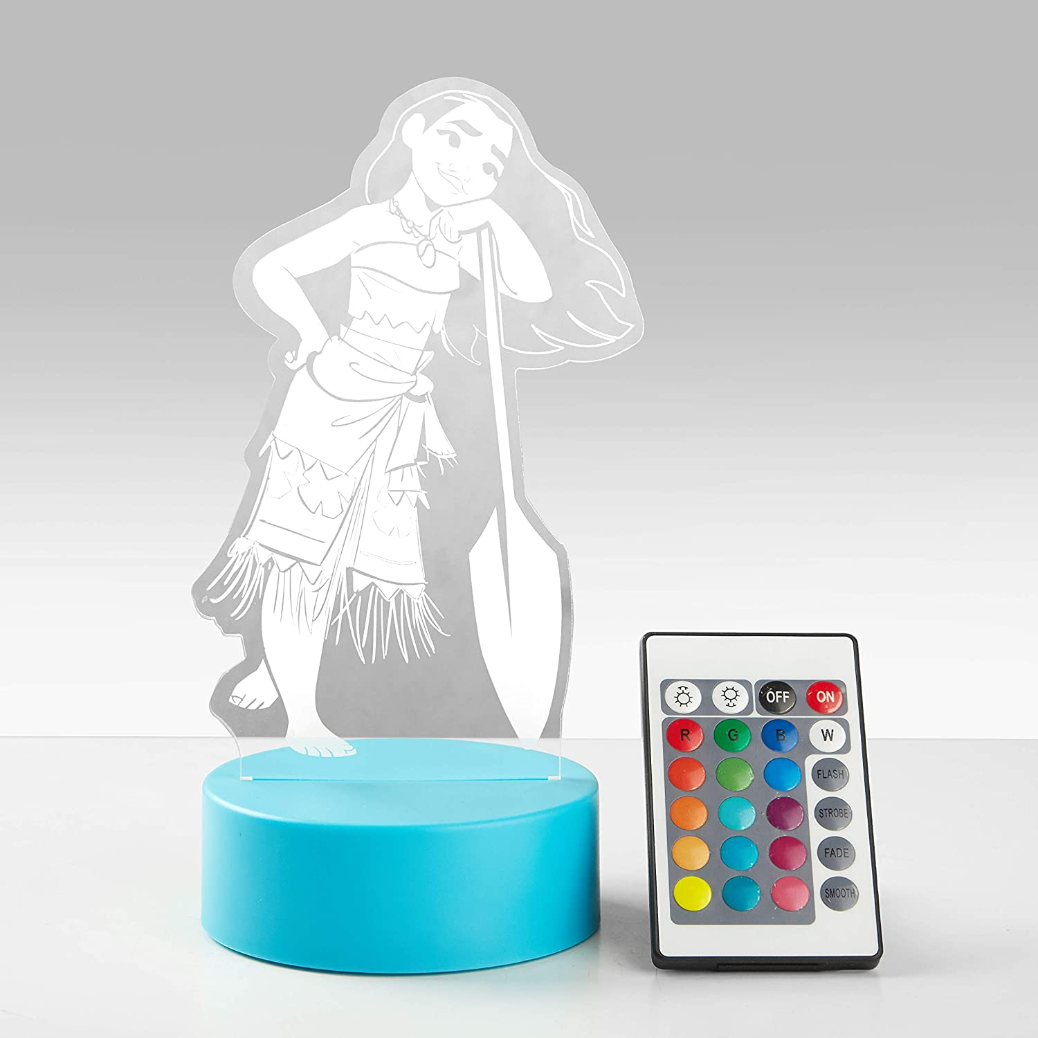 Disney Moana Acrylic LED Table Lamp with Multi-Color Changing Lights, Controller Included
