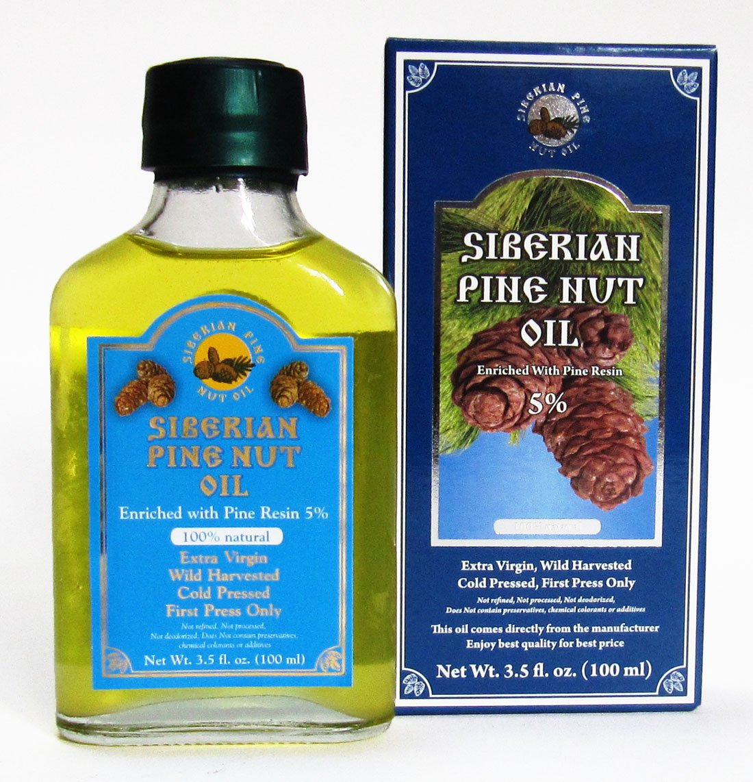 Pine Nut Oil Enriched with Pine Resin - 5%. 3.5 Fl. Oz. (100 Ml) Therapeutic Grade, Extra Virgin, Cold-pressed. 100% Natural and Authentic. Pressed From Wild Harvested, Organic, Raw Pine Nuts. by Siberian Pine Nut Oil