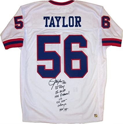 new concept 308e8 a9fe1 Amazon.com: Lawrence Taylor Autographed White New York ...