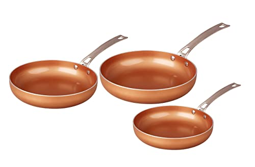 CONCORD 3 Piece Ceramic Coated -Copper- Frying Pan Cookware Set Review