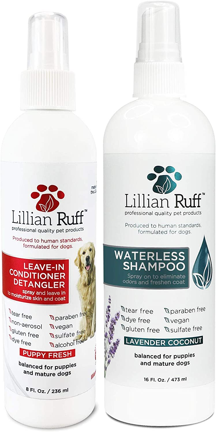 Lillian Ruff Waterless Dog Shampoo - No Rinse Quick Dry Shampoo Spray for Dogs and Cats - Tear Free Lavender Coconut Scent to Deodorize Pet Odor and Freshen Coat - Made in USA