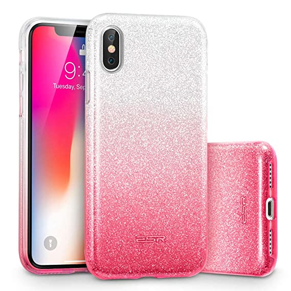 the latest b717c 8e515 ESR Makeup Glitter Case for iPhone Xs/iPhone X, Glitter Sparkle Bling Cover  [Three Layer] for iPhone 5.8 inch (Ombre Pink)