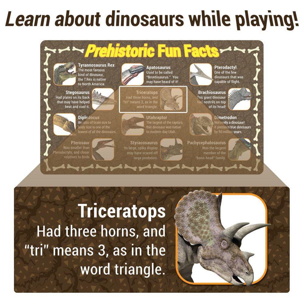 Imagination Generation 100 Piece Jurassic Dinosaur and Cave Man Prehistoric Playset | Includes Play Mat, Storage Containter, Volcano, Bridges, and Plants | Educational Booklet Packed In with Each Set by Imagination Generation (Image #7)