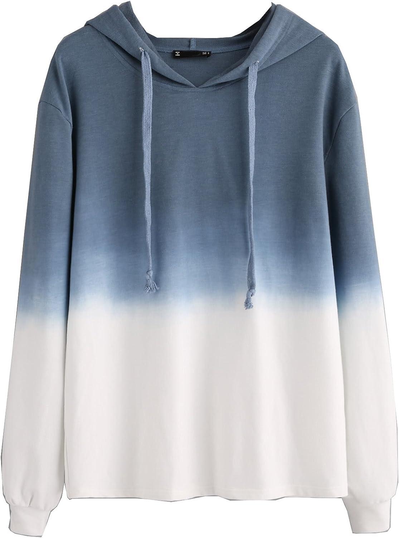 SweatyRocks Women's Hoodie Pullover Colorblock Tie Dye Print Sweatshirt Tops