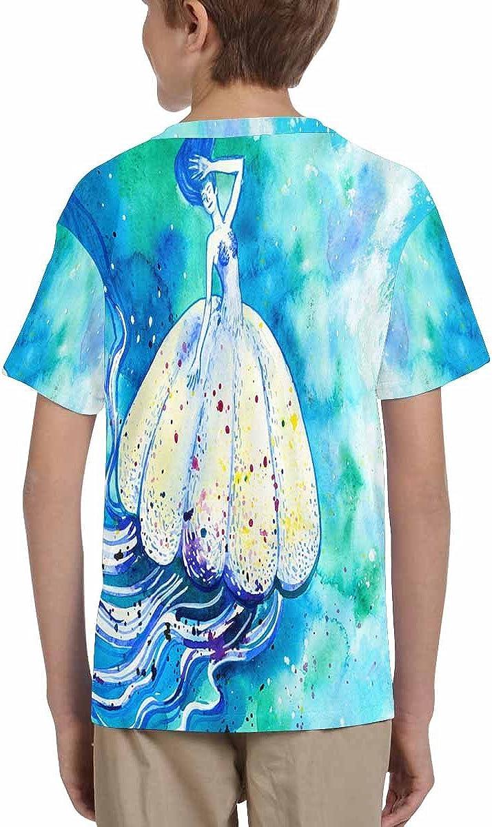 INTERESTPRINT Jelly Fish Sea Life in Blue Ocean Kids T-Shirt XS-XL