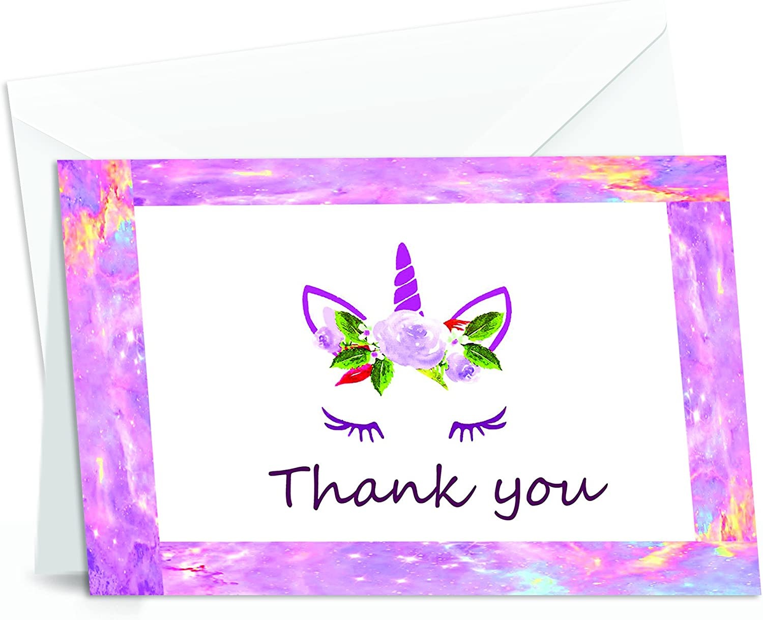 Unicorn Thank You Cards - 4x7 Inches of 50 Purple and Pink Unicorn Design Blank Card Notes with Envelopes - Perfect for Kids and Birthday Parties, Write Happy Gift-Notes for Baby, Graduation, Weddings