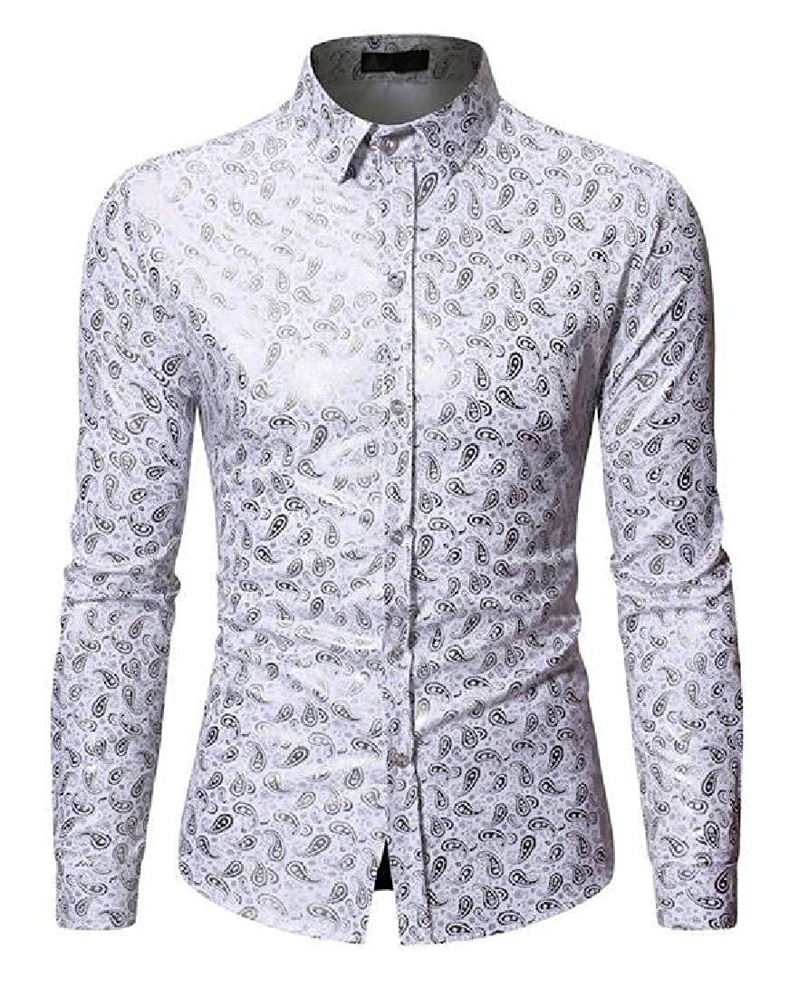 Zantt Mens Casual Business Printed Long Sleeve Regular Fit Button Down Dress Shirt