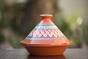Kamsah Hand Made and Hand Painted Tagine Pot | Moroccan Ceramic Pots For Cooking and Stew Casserole Slow Cooker (Medium, Classic Bohemian Red)