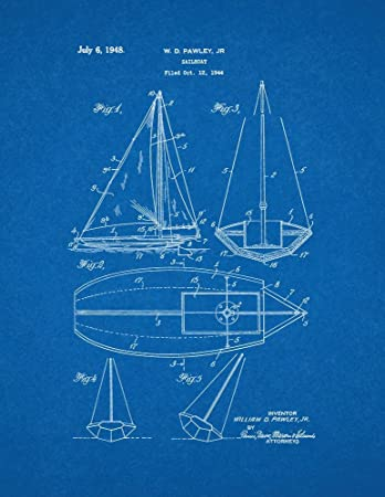 Amazon sailboat patent print art poster blueprint 11 x 14 sailboat patent print art poster blueprint 11quot malvernweather Gallery