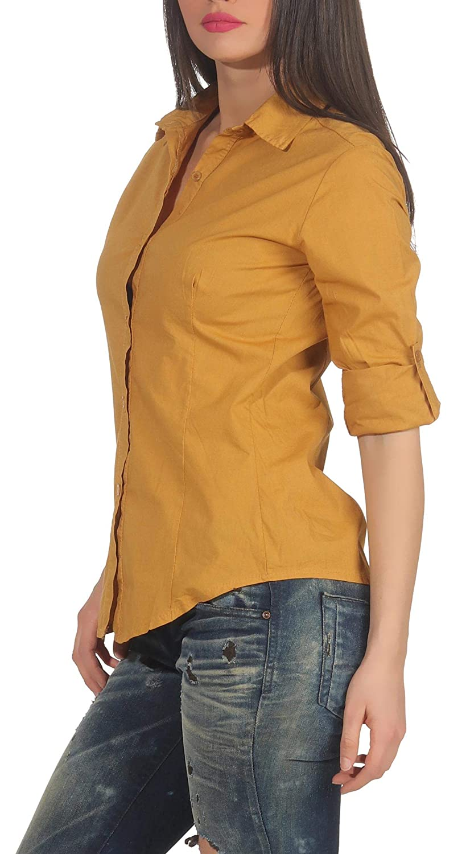 Malito dam blus klassisk | tunika med knähöga armar | blusskjorta också lång ärm bärbar | Elegant – Shirt 8030 Mörkgul