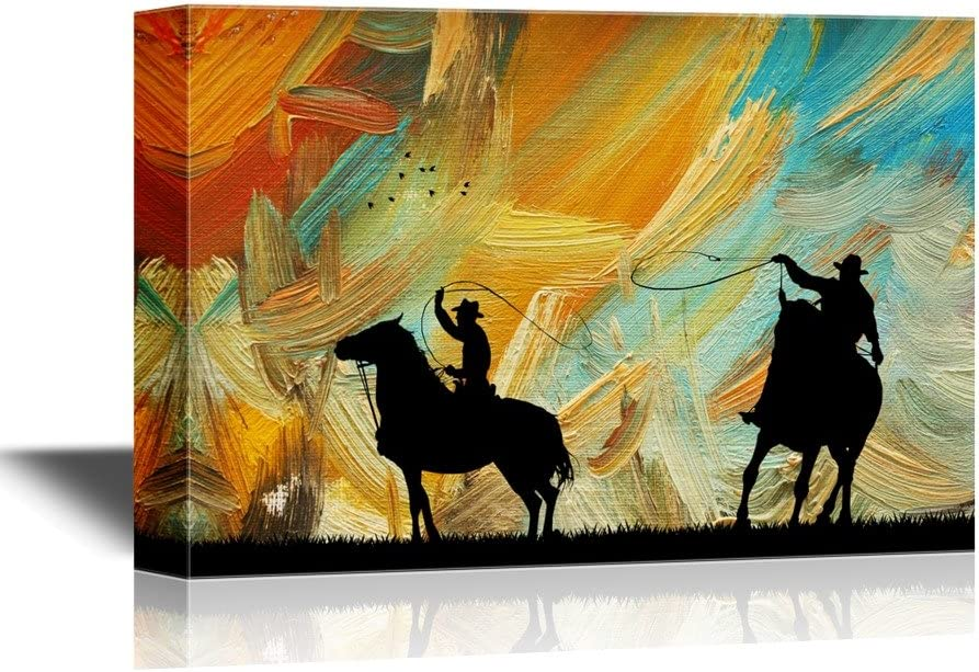 Wall26 Cowboy Canvas Wall Art Rodeo Cowboy Gallery Wrap Modern Home Art Ready To Hang 32x48 Inches Posters Prints