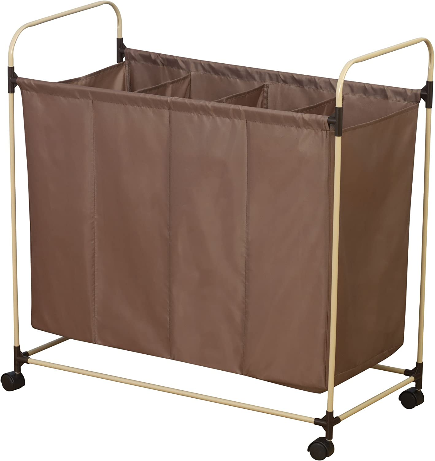 Household Essentials Rolling Quad Sorter Laundry Hamper with Mocha Polyester Bag, Almond Finish Frame