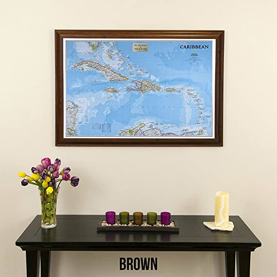 Amazon.com: Push Pin Travel Maps Personalized Classic Caribbean with Brown Frame and Pins 24 x 36: Posters & Prints