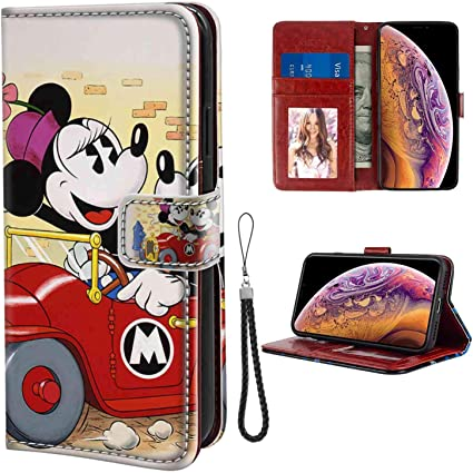 Amazon Com Wallet Cover Case Compatible With Apple Iphone Xs Max 2018 6 5inch Mickey And Minnie Mouse Driving A
