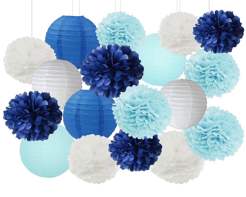 Boy Baby Shower Decorations White Navy Baby Blue Tissue Paper Pom Pom Paper Lanterns for Bridal Shower /Baby Shower Decorations /Wedding Party Decorations Furuix