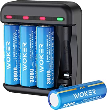 Amazon Com Woker Rechargeable Lithium Aa Batteries 1 5v Constant Output 3000mwh High Capacity 4 Pack Batteries With Smart Charger Fast Charging Intelligent Charging Protection Feature Electronics