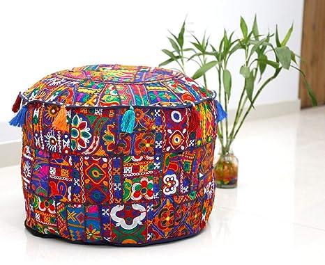 Trade Star - Puf Indio Hecho a Mano con diseño de Patchwork ...