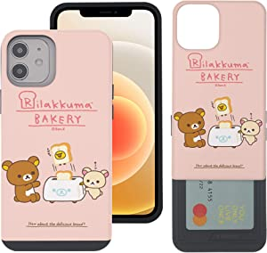 Compatible with iPhone 12 Pro/iPhone 12 Case (6.1inch) Rilakkuma Slim Slider Card Slot Dual Layer Holder Bumper Cover - Rilakkuma Toast