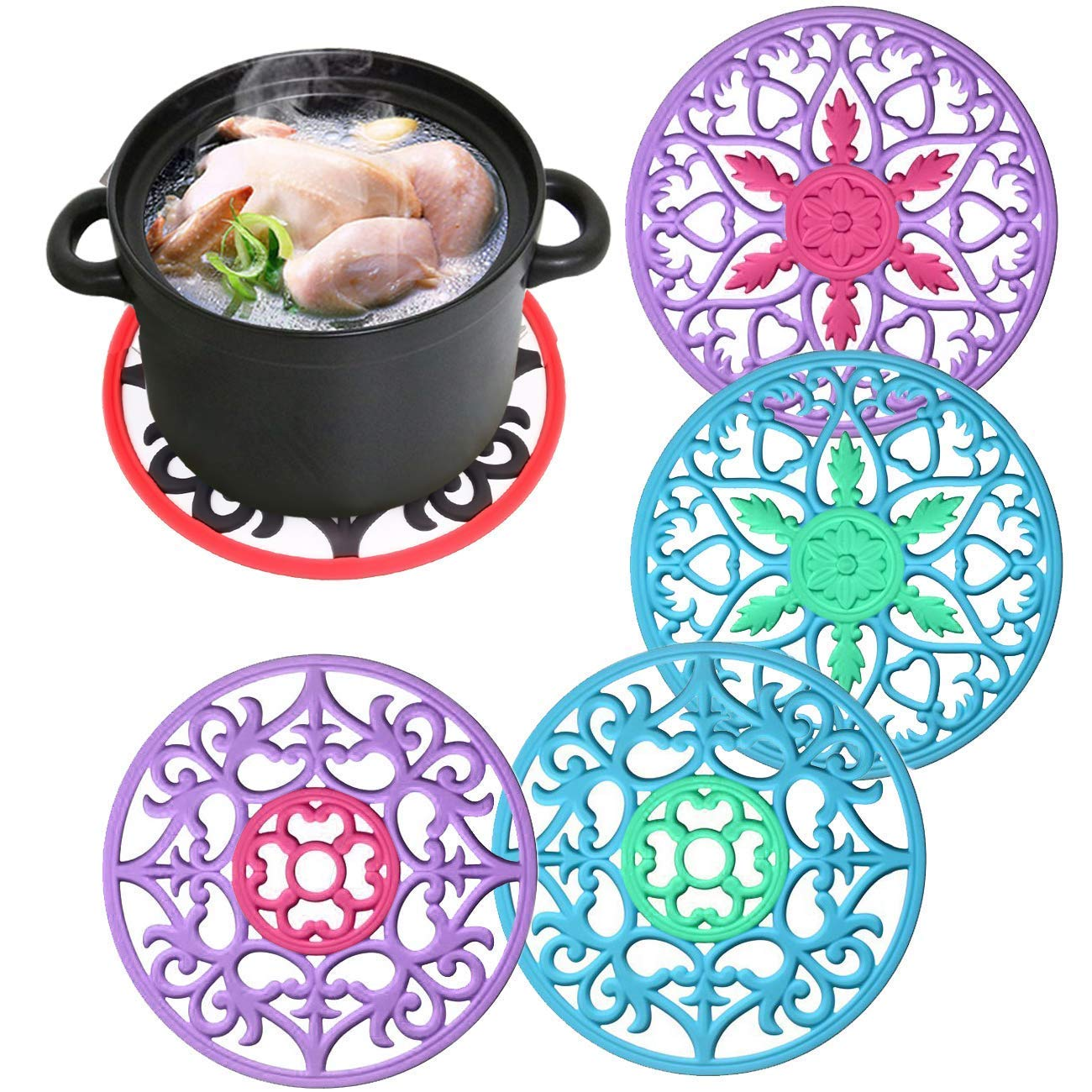 4 Set Soft Silicone Hot Pads,Trivet Mat,Flexible Hot Pads Slip Insulation Mat for Pot Holders, Dishes,Spoon Rest, Jar Opener & Coasters, Heat Resistant Bowl Saucepan Mat Candygirl