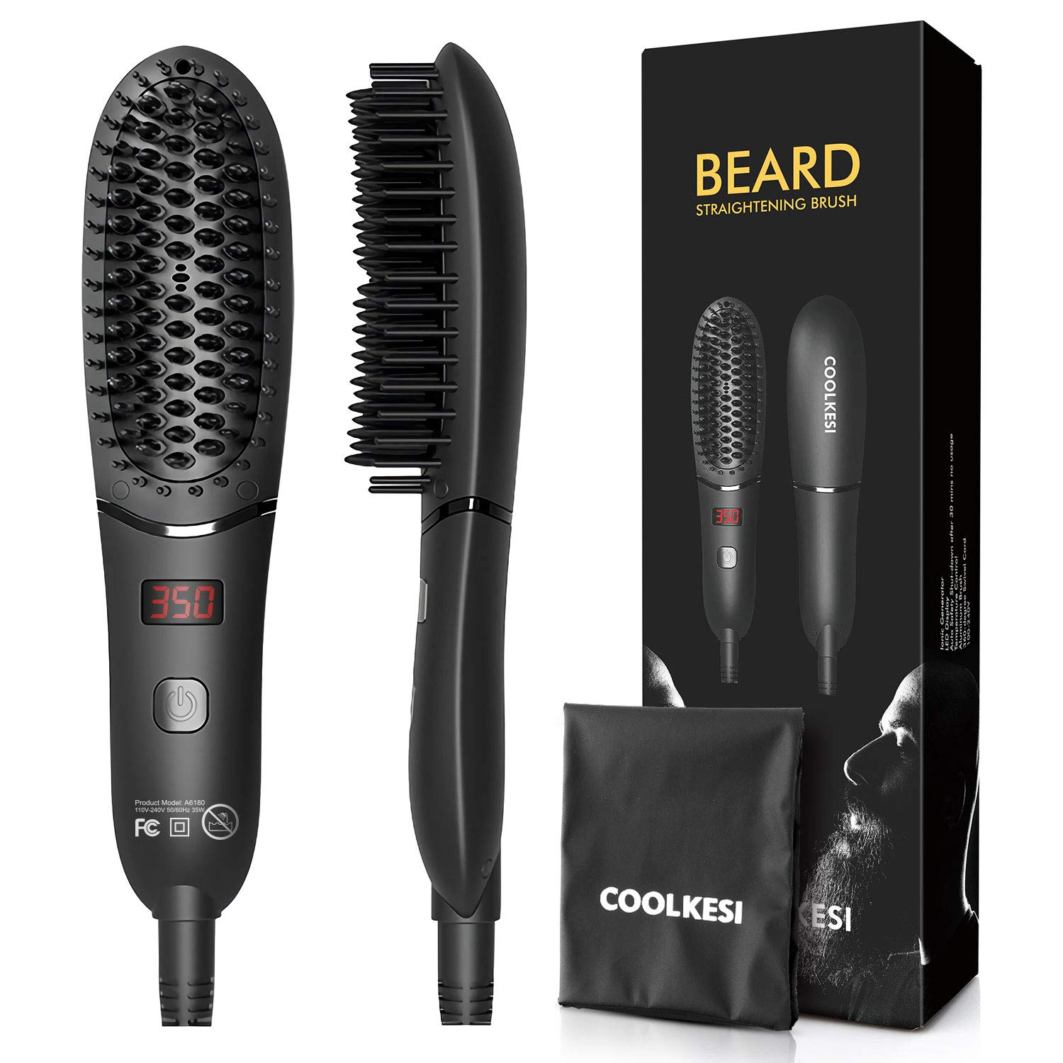 COOLKESI Ionic Beard Straightener for Men, Anti-Scald Hair Straightening Brush with Fast Heating, Portable Ceramic Heat Brush Comb for Home or Travel, Electric Dual Voltage& LED Adjustable Temp