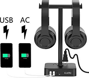 Dual Headphone Stand with USB Charger KAFRI Desk Gaming Double Headset Holder Hanger Rack with 3 USB Charging Port and 2 Outlet - Suitable for Gamer Desktop Table Game Earphone Accessories Gift