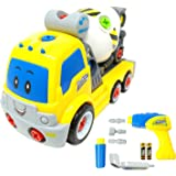 Take Apart Toy Cement Mixer Truck TG650 – Build Your Own Cement Mixer Boys Toy with Working Drill – Toddler Toy Gift For 3, 4, 5 Year Old Boys & Girls - By ThinkGizmos (Trademark Protected)