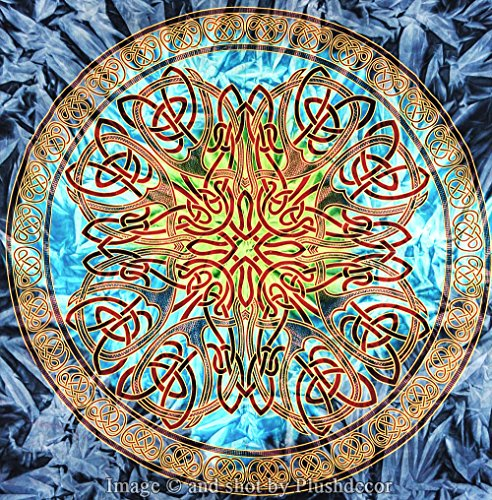 - Plush Decor Celtic Mandala Tapestry Large Queen - King (264 x 224) cms. Ombre Psychedelic Tapestries Medallion Tapestry Hippie Bohemian Wall Hanging Beach Throw Cotton Bedsheet Wall Art