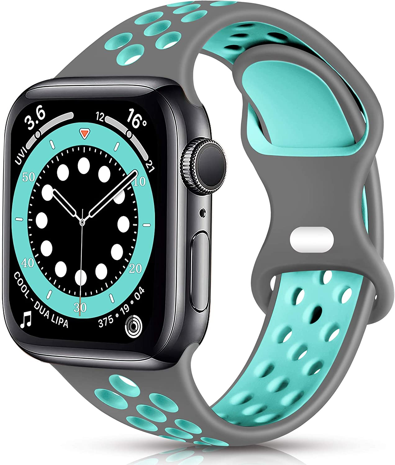 Sport Band Compatible with Apple Watch 42mm 44mm Women Men, Breathable Silicone Replacement Wristband for iWatch SE Series 1/2/3/4/5/6, Gray/Teal, Small