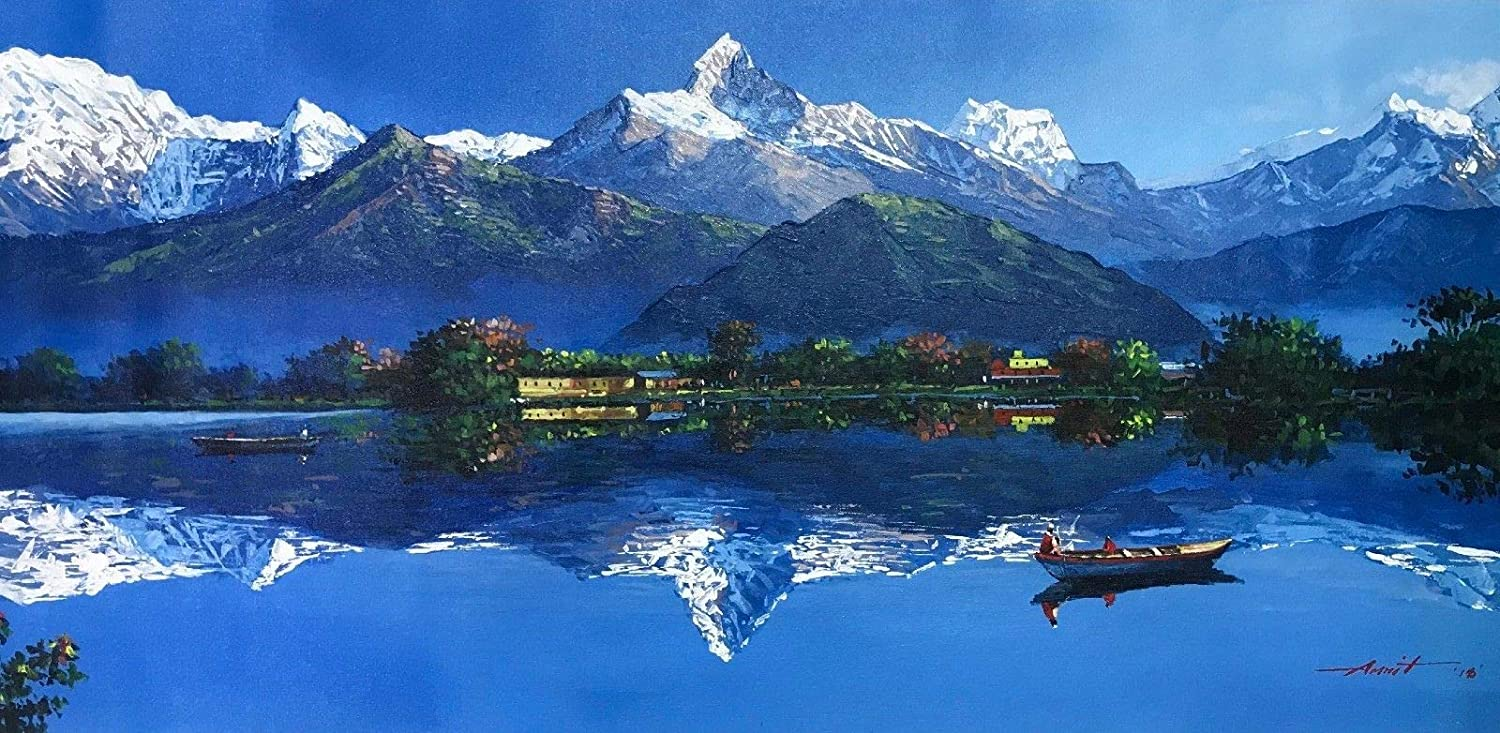 Amazon Com Mount Annapurna From Fewa Lake Pokhara Original Acrylic In Canvas Painting 22 X 52 Paintings