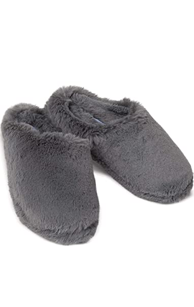3f62a62e9c376 PajamaGram Women's Slippers Soft Shag - Washable Ladies Slippers, Gray, ...