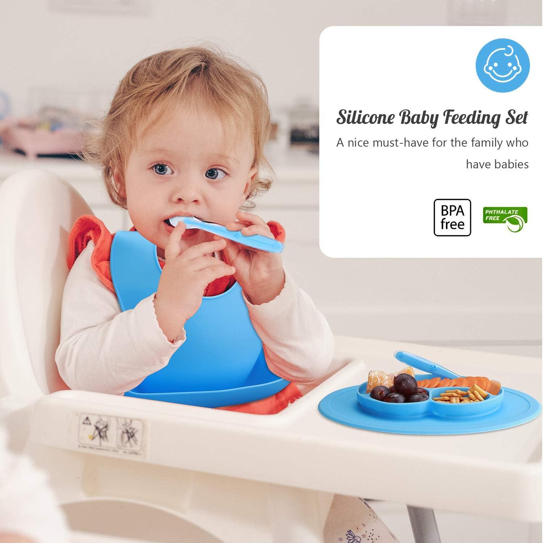 cuchara silicona beb/é Utensilios Infantiles Aprendizaje BLW Babero Silicona 3 en 1- Vajilla Beb/é Antideslizante Azul Brunoko Vajilla infantil Set de Plato bebe ventosa Dise/ñado en Espa/ña