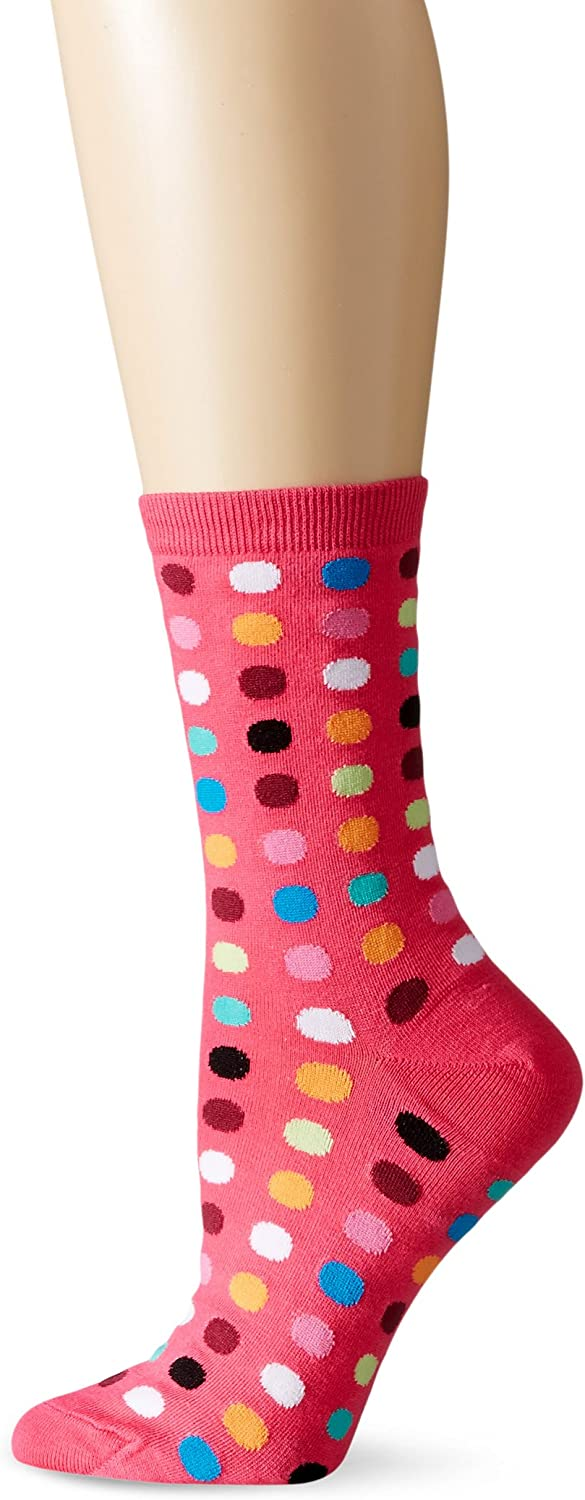 New Hotsox Ladies 3 Pair Of Crew Socks Size 9-11 With DOGS//POLKA DOTS