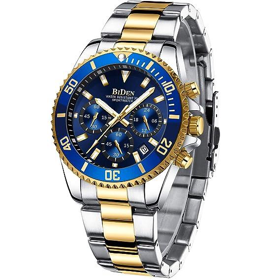 Reloj de Pulsera para Hombre cronógrafo Resistente al Agua Fecha Luminoso de Acero Inoxidable Reloj de Pulsera analógico Hombre