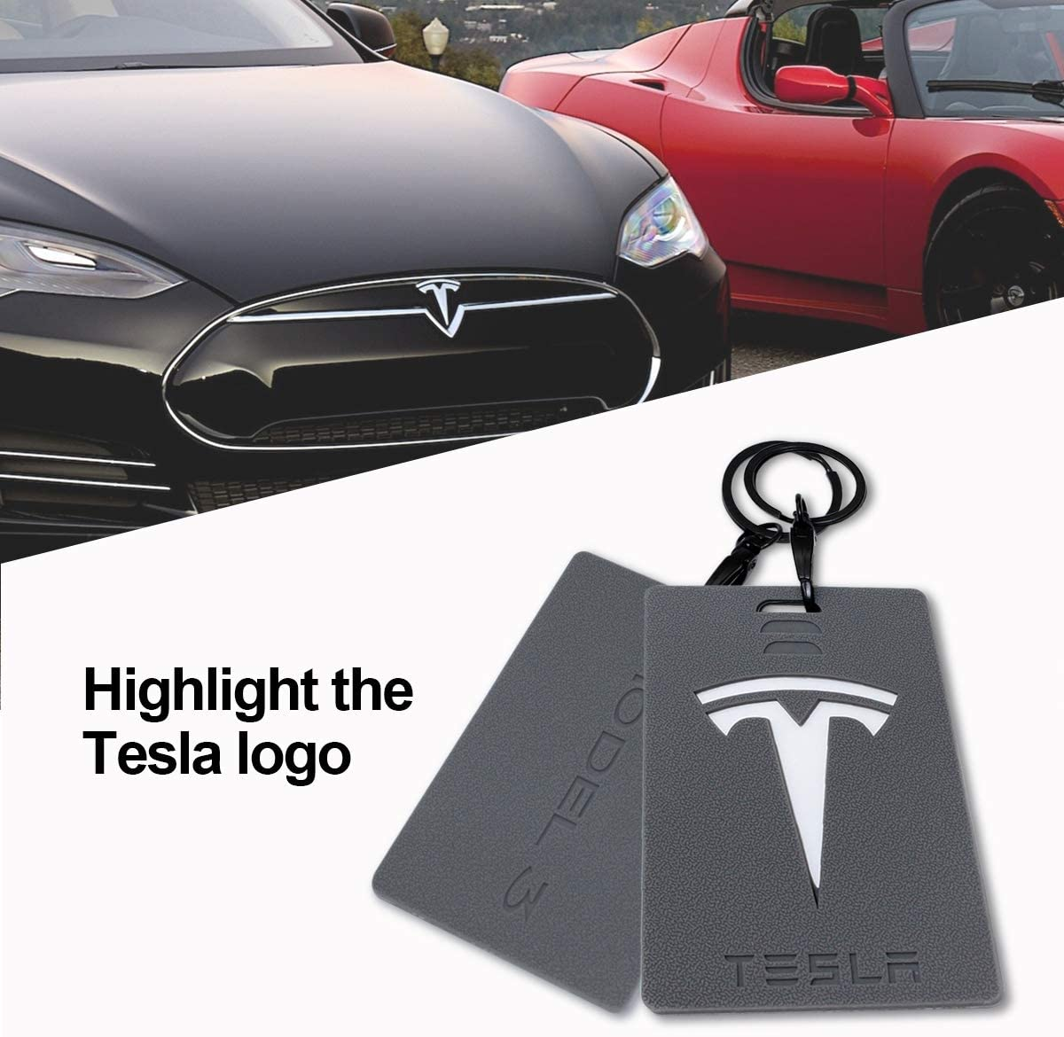 Gray Wall Stickz Car Sales Key Card Holder for Tesla Model 3 Silicone Protector Cover Key Card Keychain