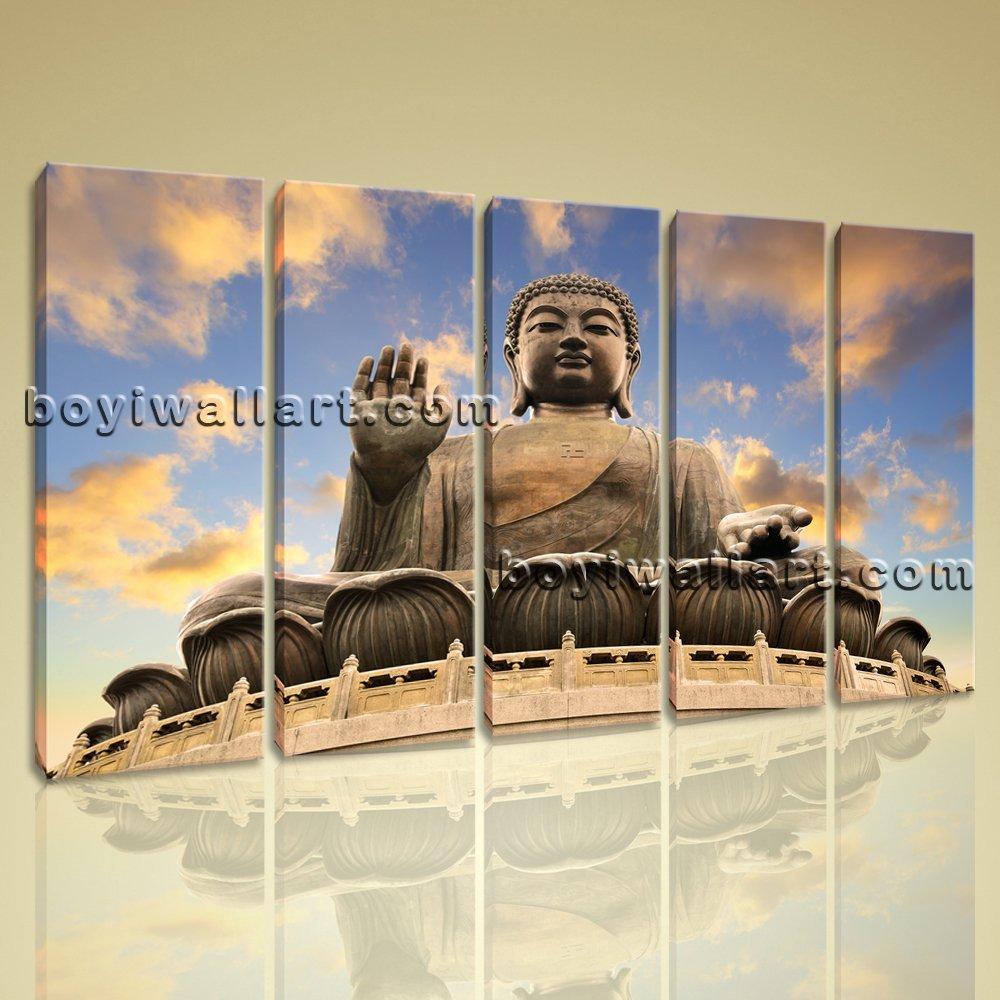 Large 5 Panels Contemporary Home Decor Wall Art Print On Canvas Feng Shui Buddha, Large Buddha Wall Art, Dining Room, Manatee