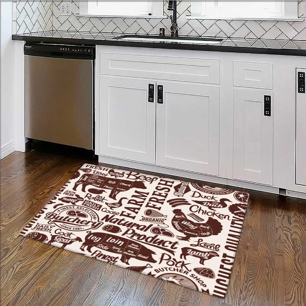 E x tra Thick Comfortable Rug typographic vector butchery or background farm animals icons and butcher shop Garage – Durable W30'' x H18''