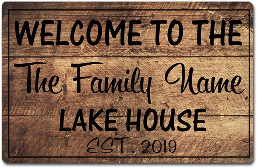 "Artsbaba Custom Family Name Personalized Doormat Welcome to The Lake House Door Mat Rubber Non-Slip Entrance Rug Floor Mat Funny Home Decor Indoor Mat 23.6 x 15.7 Inches, 3/16"" Thickness"