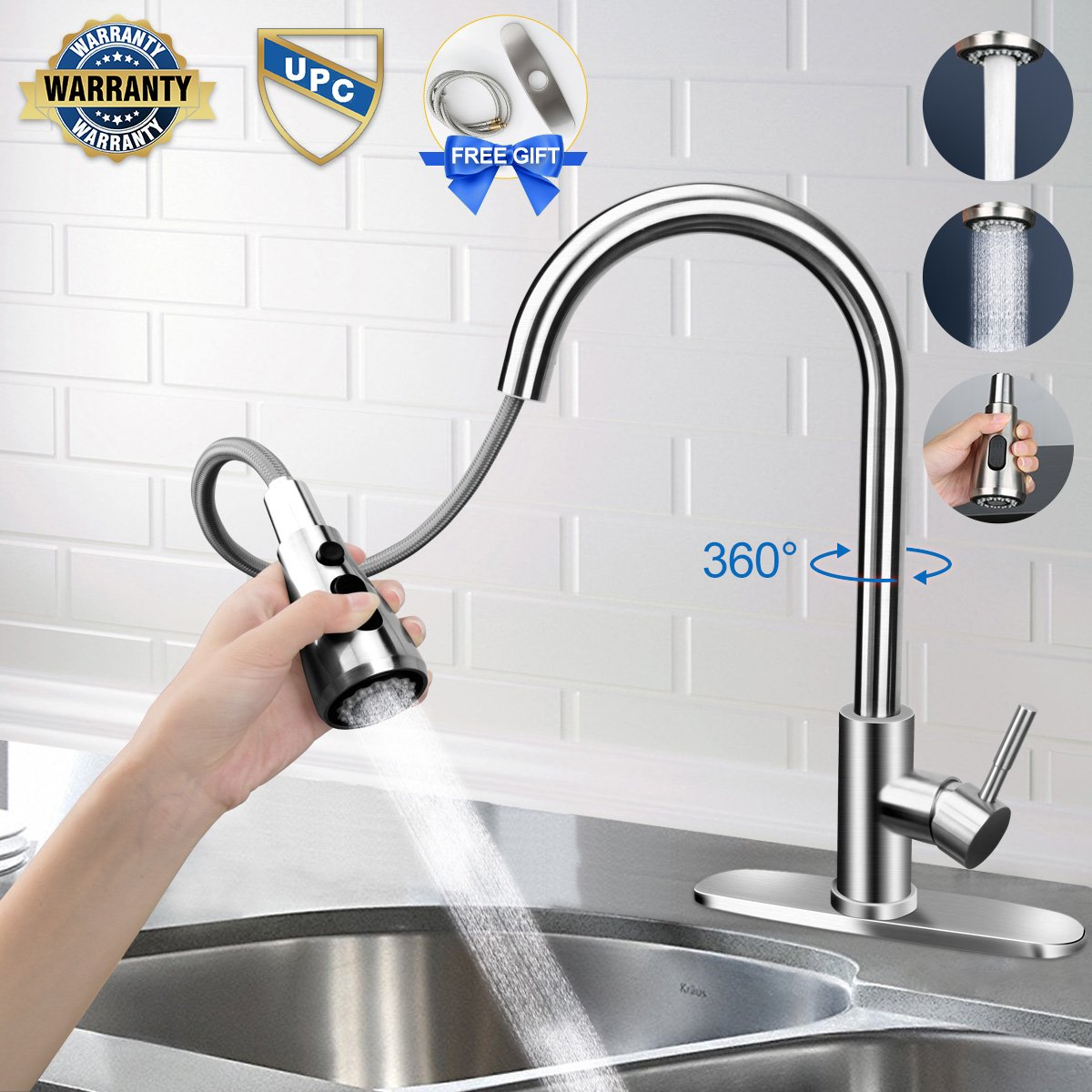 Kitchen faucet, Kitchen Faucets with Pull Down Sprayer Free Gift for Deck Plate and Water Hose. Easy to Stall, Fit for 1 or 3 Hole, Lead-Free Brushed Nickel Kitchen Sink Faucet with Pull Down Sprayer