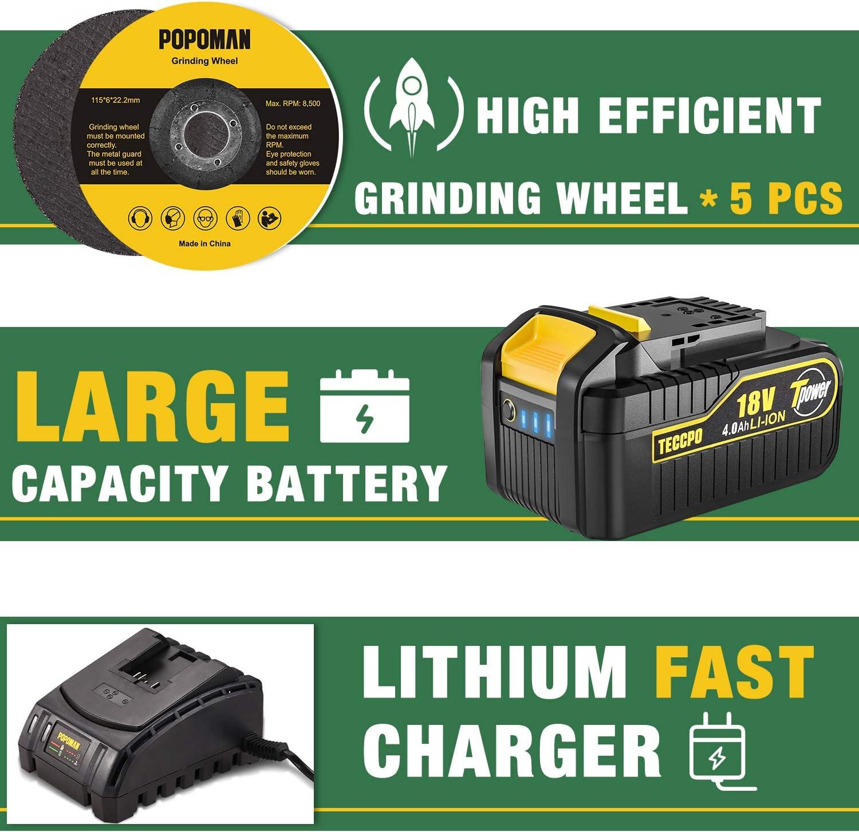 cl/é anglaise outil 4,0 Ah 18 V avec poign/ée anti-vibrations batterie de 115 mm et 8500 tr//min POPOMAN Meuleuse dangle couvertures de protection de roues 5 roues de meulage meuleuse dangle