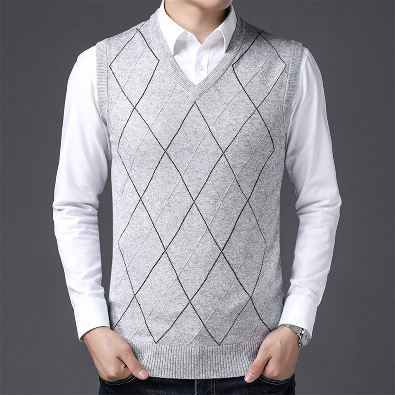 NanGate Knitted Solid Simply Pullover Men V Neck Long Sleeve Sweater Pull Homme S-XXL,25815,XXL