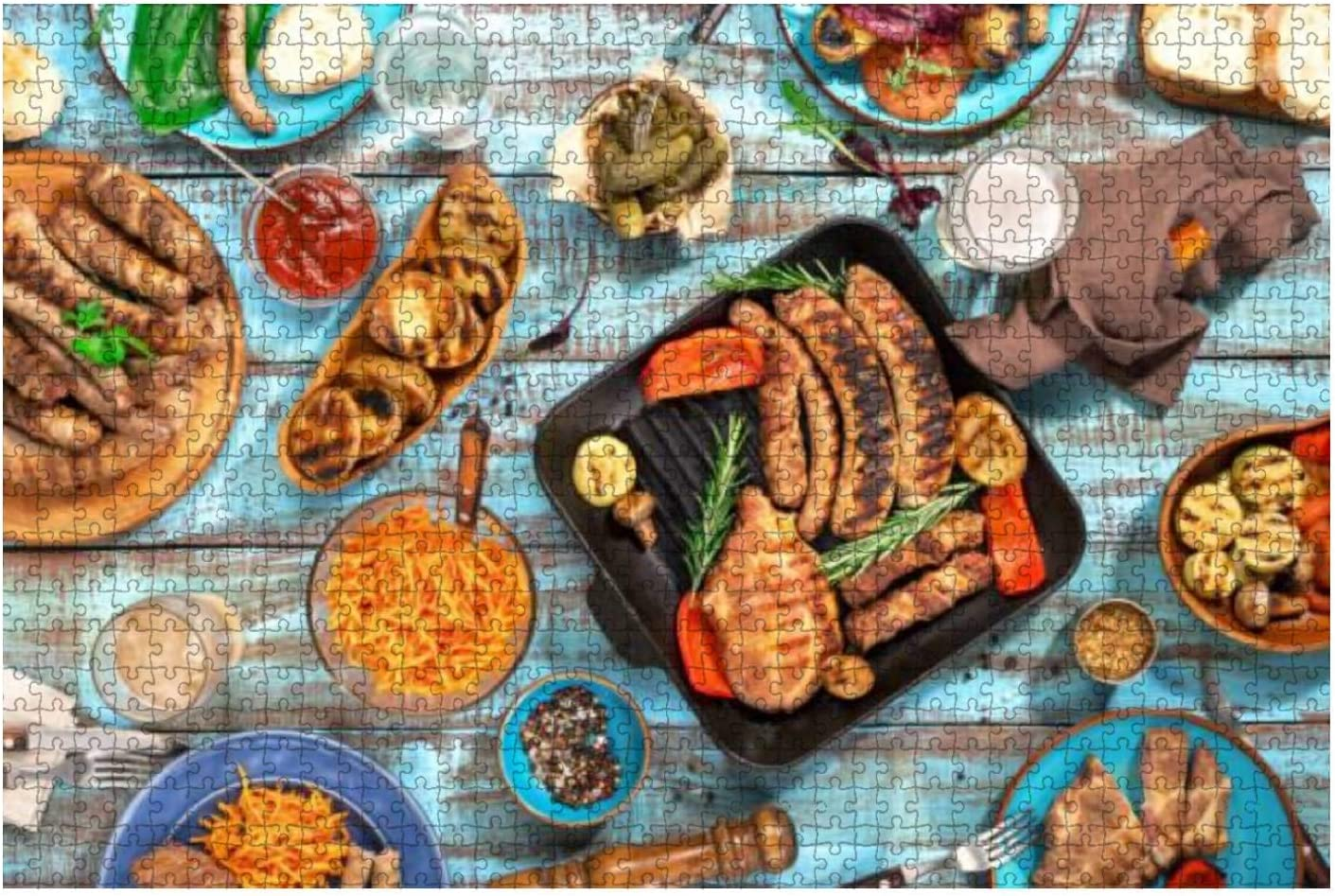 Wooden Puzzle 1000 Pieces Variety of Food Grilled on Wooden Table top View Jigsaw Puzzles for Children or Adults Educational Toys Decompression Game