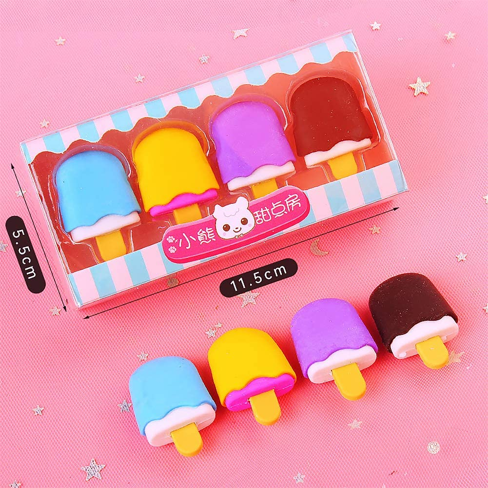 Farrosig 3D Ice Pop Pencil Erasers Take Apart Erasers Food Dessert Cute Cartoon Puzzle Erasers Novelty Toys for Birthday Party Favors Classroom Rewards Games Prizes Carnival Gifts School Supplies