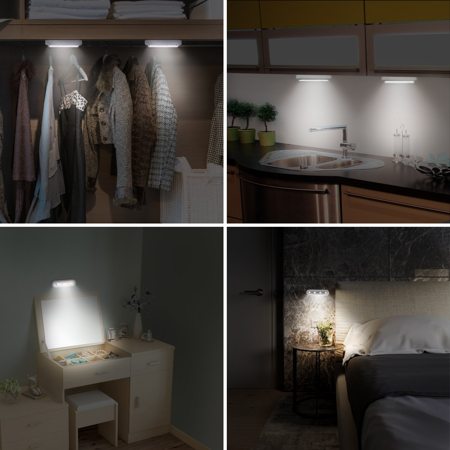 OxyLED Tap Closet Lights, One Touch Light, Stick-on Anywhere 4-Led Touch Tap Light, Cordless Touch Sensor LED Night Light, Battery Operated Stair Safe Lights, 180° Rotation, 3 Pack by OxyLED (Image #4)